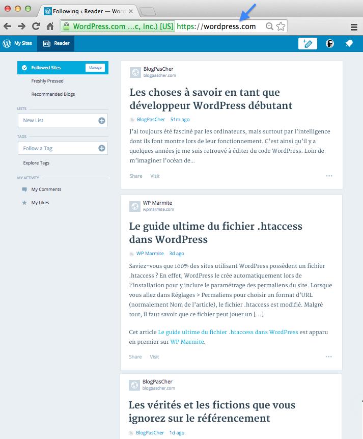 Homepage de WordPress.com : WordPress Reader