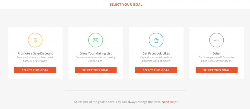 Hellobar pour ventes, promotion, newsletter, et réseaux sociaux