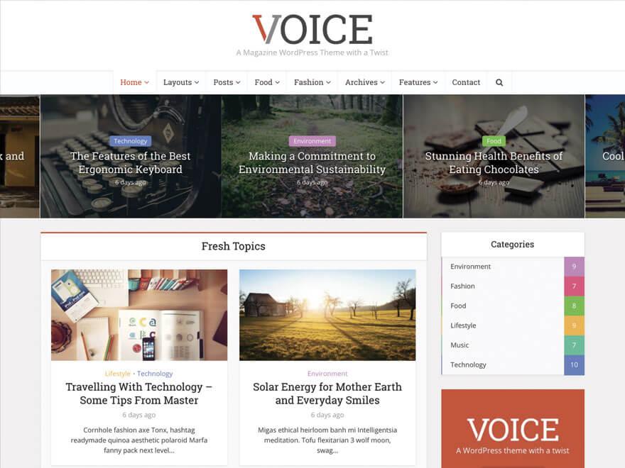 Avis comparatif sur le meilleur thème WordPress Voice