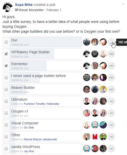 Sondage : quel page builder est le plus populaire, Divi, WP Bakery Page Builder, Elementor, Beaver Builder ou Oxygen ?