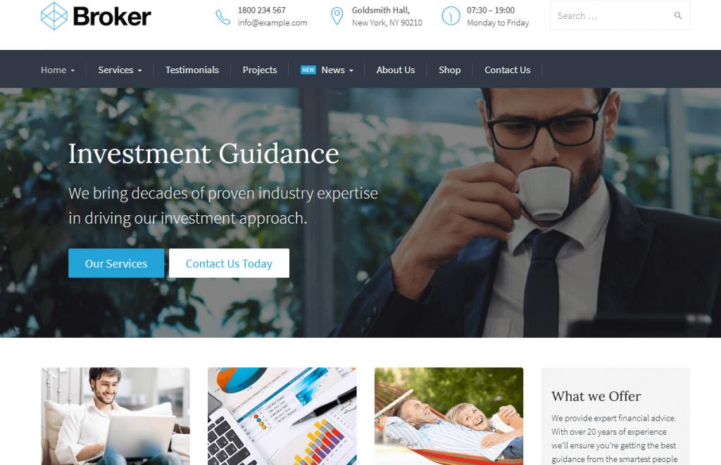Broker : meilleur thème WordPress pour courtiers en finance & assurance