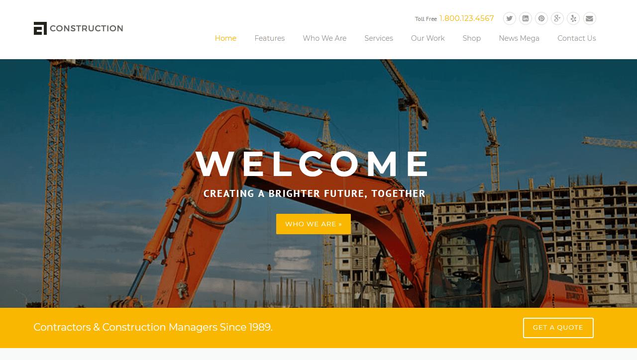 Construction : meilleur thème WordPress pour le BTP