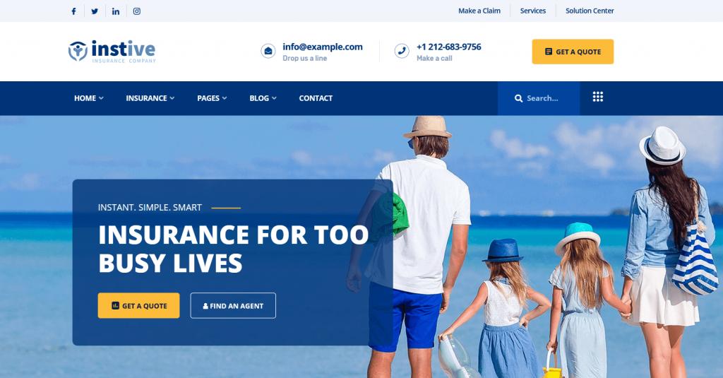 Insitive : meilleur thème WP pour sociétés d'assurance vie, assurance automobile…