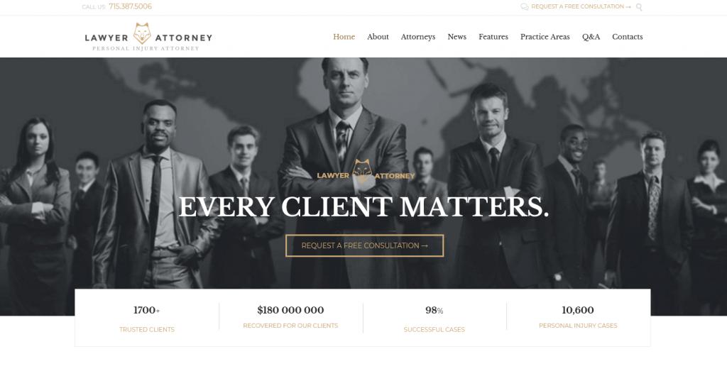 Lawyer & Attorney : thème WordPress pour juristes et cabinets d'avocats