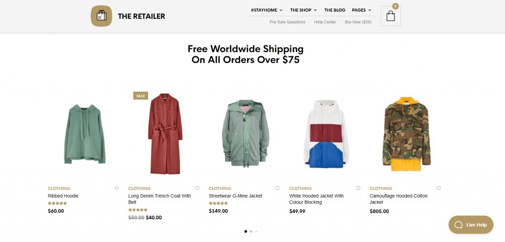 The Retailer : meilleur thème WordPress pour boutiques en ligne classiques