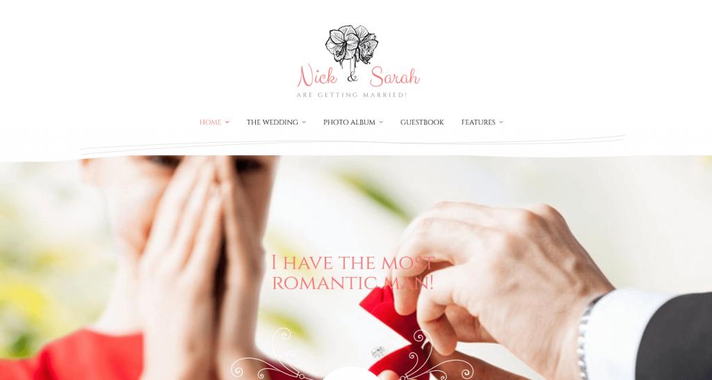 Wedding Day : 2e meilleur thème WordPress pour demande en Mariage, annoncer votre mariage (souvenirs…)
