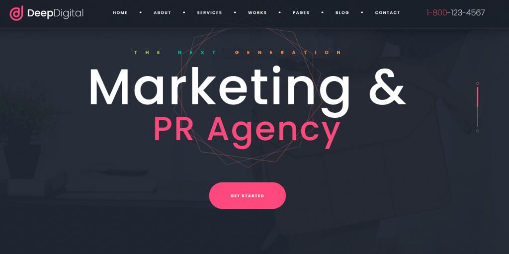 DeepDigital : meilleur thème pour agence de Digital Marketing, avec portfolio moderne…