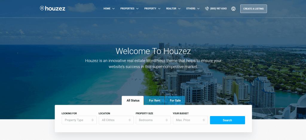 Houzez : 2e meilleur thème WordPress pour annonces immobilières