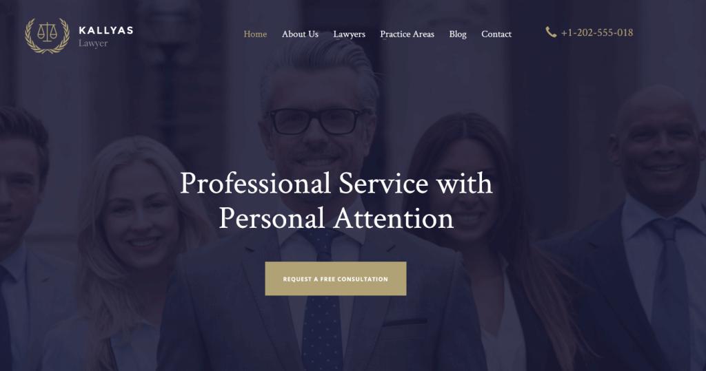 Kallyas : thème WordPress pour conseillers juridiques, cabinets d'avocats, etc.