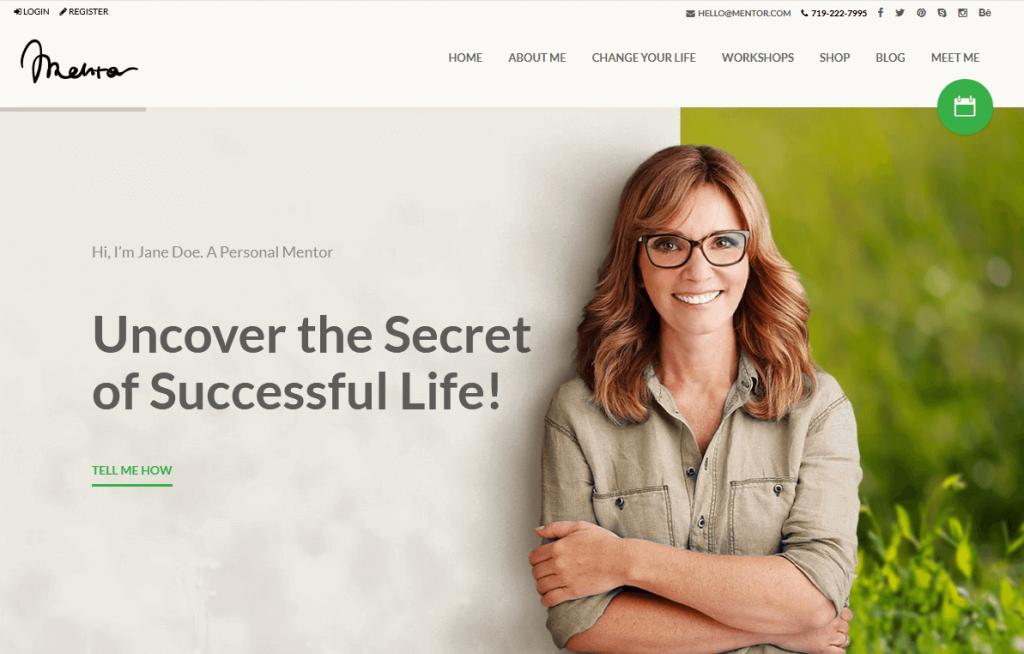 Mentor : meilleur thème WordPress WooCommerce pour le mentoring, les coachs de vie, etc…
