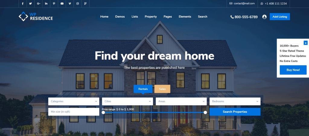 Residence : meilleur thème pour agences immobilières