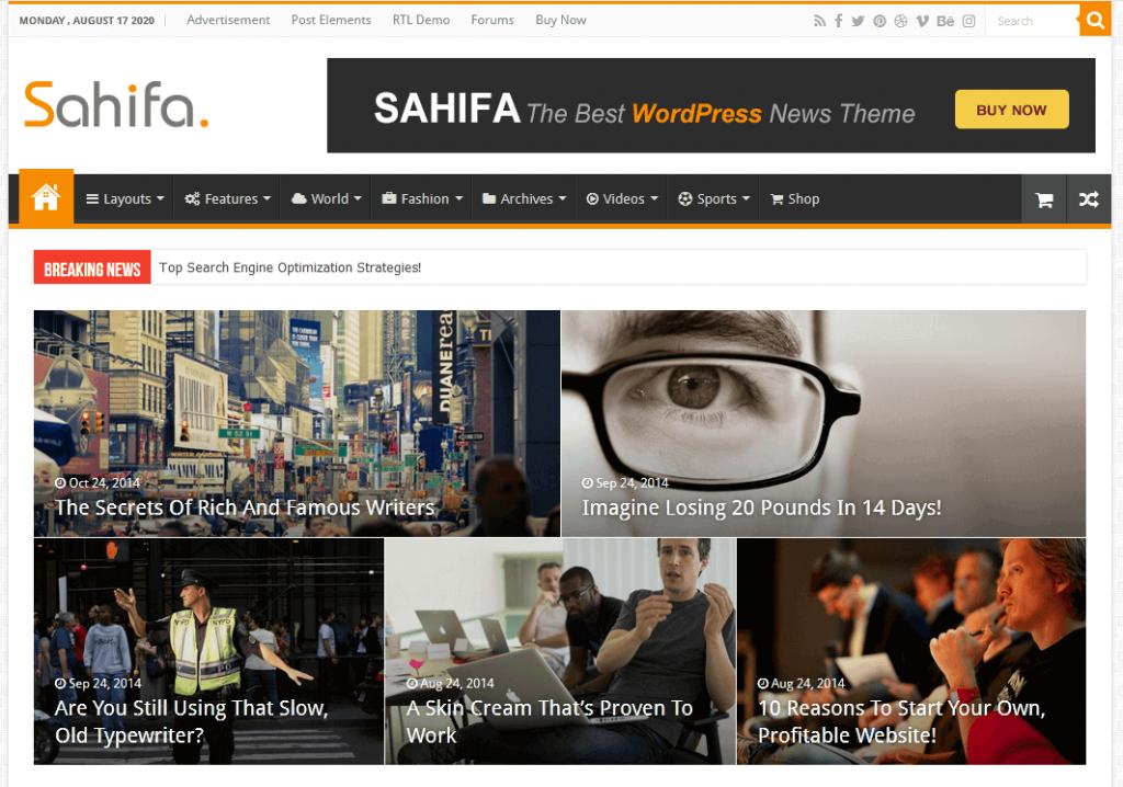 Sahifa : 4e meilleur thème WordPress pour sites de news et magazines en ligne