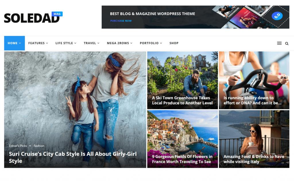 Soledad : 3e meilleur thème WordPress pour sites de news et magazines en ligne