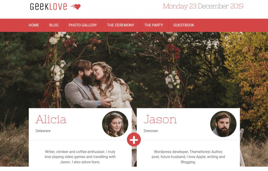 GeekLove : 5e meilleur thème WordPress pour les geeks qui veulent créer un site pour leur mariage