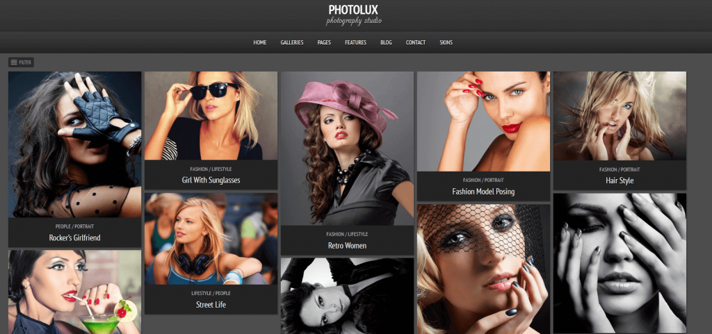 Photolux : meilleur thème pour sites web de photographes, avec portfolio et galeries photos