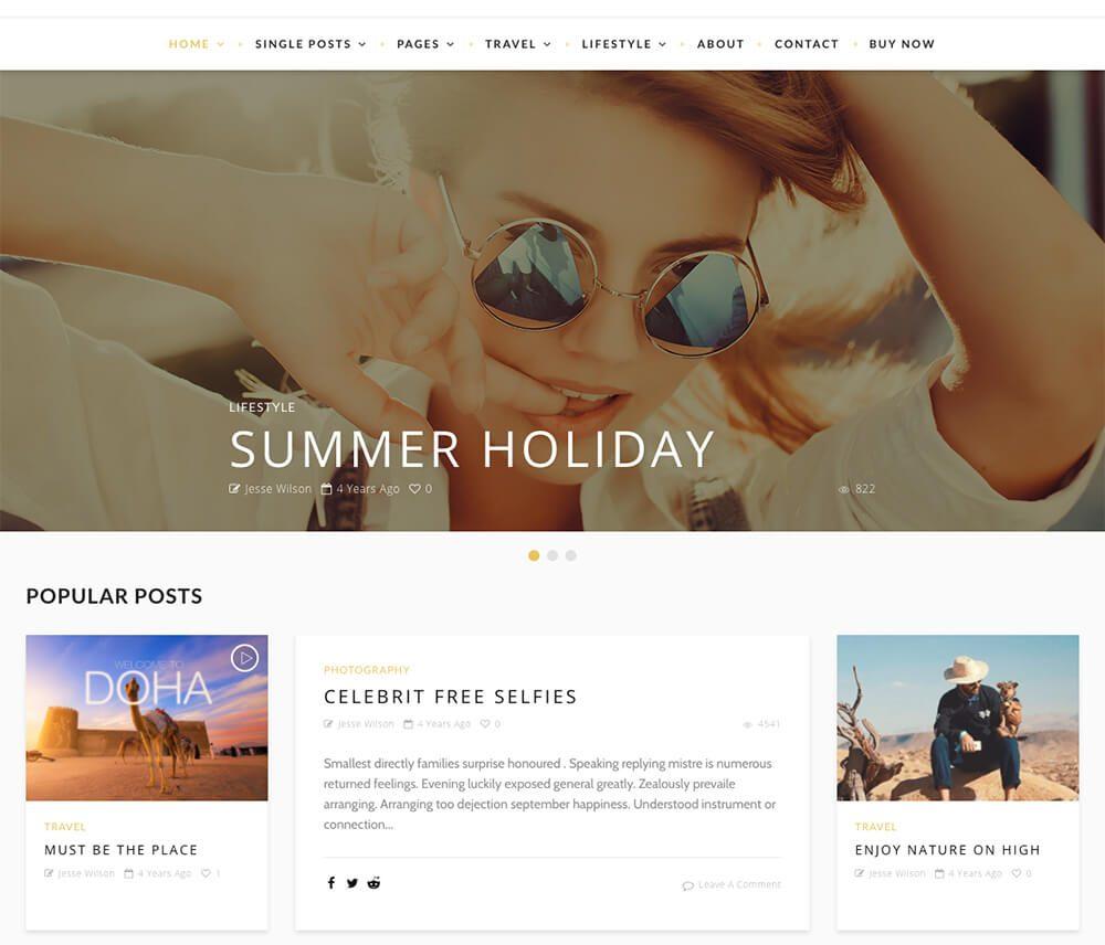 Desert : 4e meilleur thème WordPress pour le blogging & blog de voyage