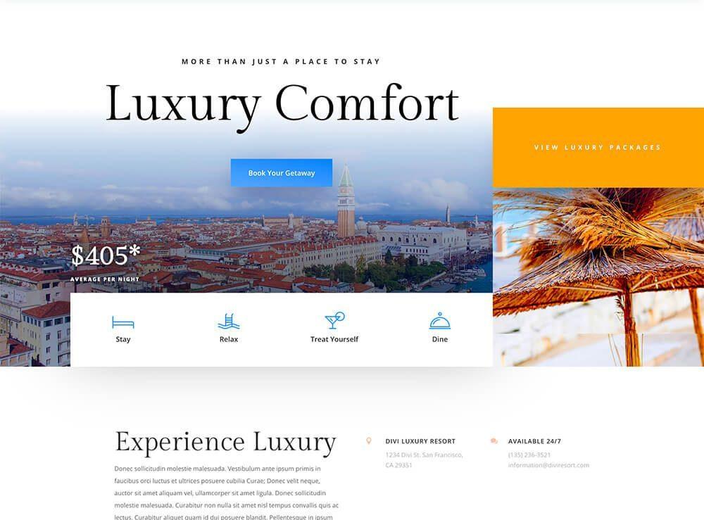 Divi : meilleur thème WordPress WooCommerce pour l'hôtellerie, les gîtes et les resorts