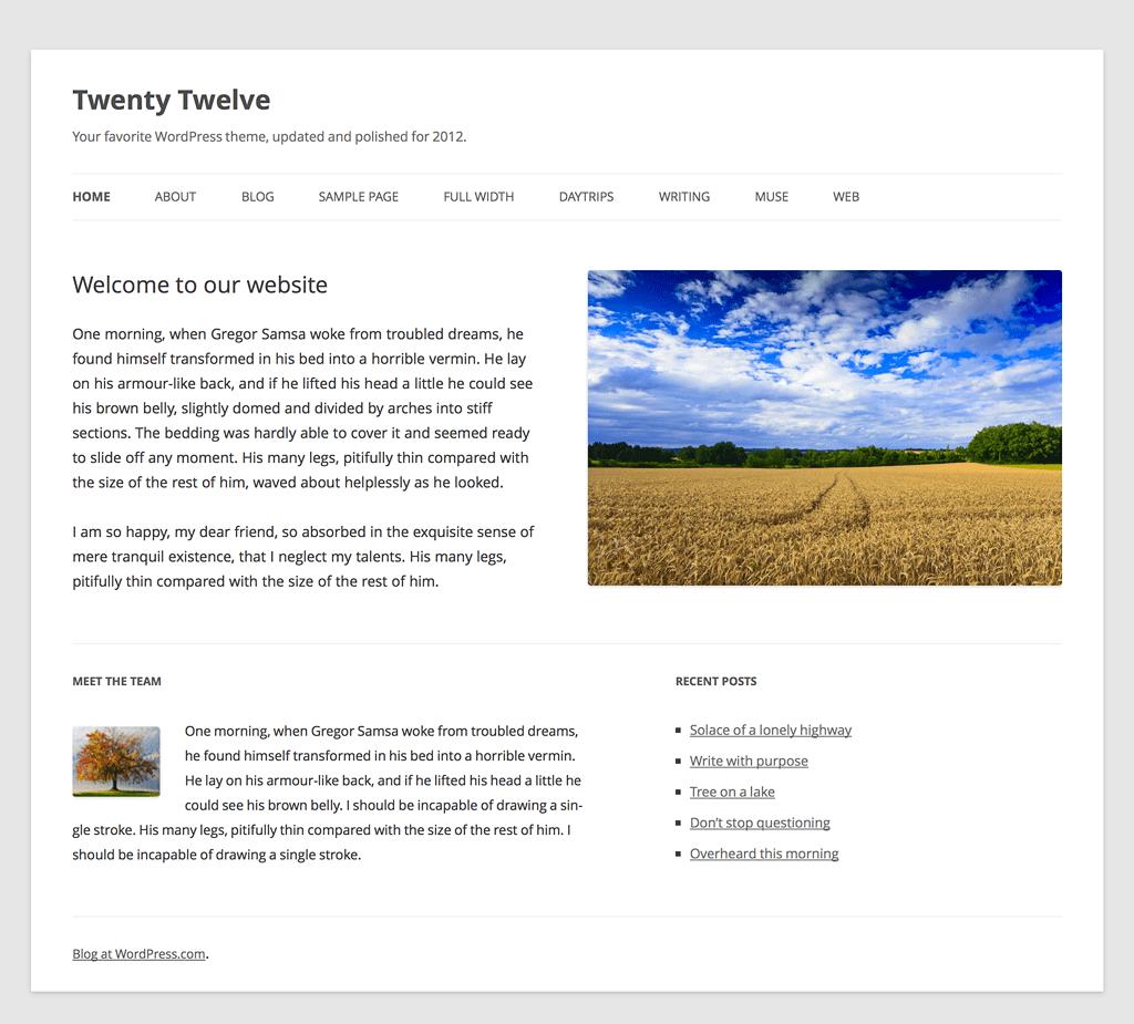 Le nouveau thème de base de WordPress Twenty Twelve