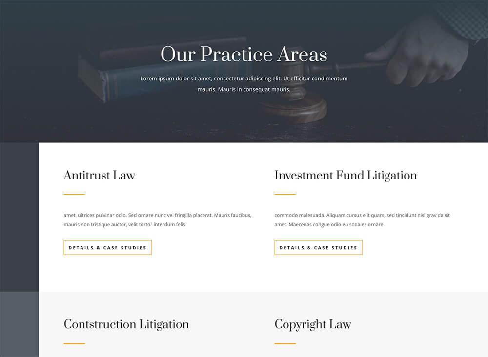 Divi : meilleur thème WordPress pour bureaux d'avocat, avec un design épuré