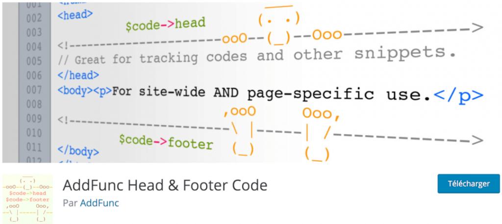 AddFunc Head & Footer Code, le meilleur plugin indispensable pour intégrer des codes de tracking et pixel
