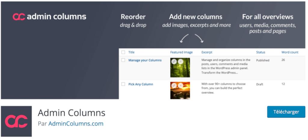 Admin Columns, le meilleur plugin indispensable pour gérer et organiser vos contenus dans le tableau de bord