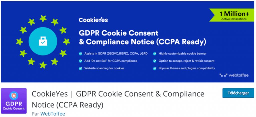 CookieYes, le meilleur plugin indispensable pour se conformer aux RGPD