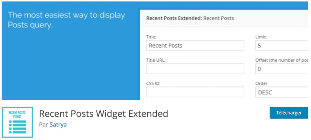 Recent Posts Widget Extended, le meilleur plugin indispensable pour intégrer vos derniers articles