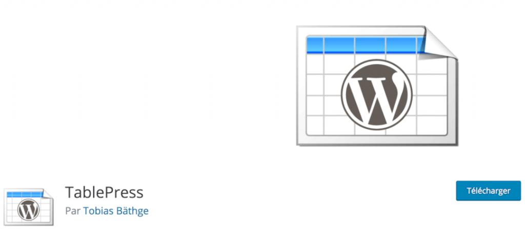 TablePress, le meilleur plugin indispensable pour vous créer des tableaux de données